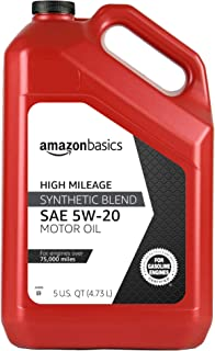 AmazonBasics High Mileage Motor Oil, Synthetic Blend, SN Plus, 5W-20, 5 Quart