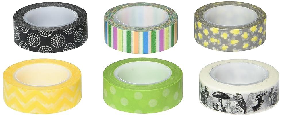 Wrapables Set of 6 Japanese Washi Masking Tape Collection Premium Value Pack, VPK8