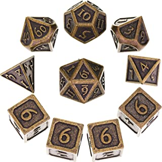 Hestya 10 Pieces Metal Dices Set DND Game Polyhedral Solid D&D Dice Set with Storage Bag and Zinc Alloy with Printed Numbers for Role Playing Game Dungeons and Dragons, Math Teaching (New Bronze)