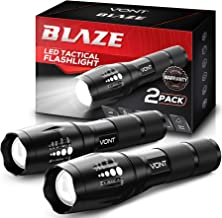 Vont 'Blaze' Tactical Flashlight (2 PACK) LED Flashlights, Extremely Bright Flash Light, High Lumen, Adjustable Beam, Wate...