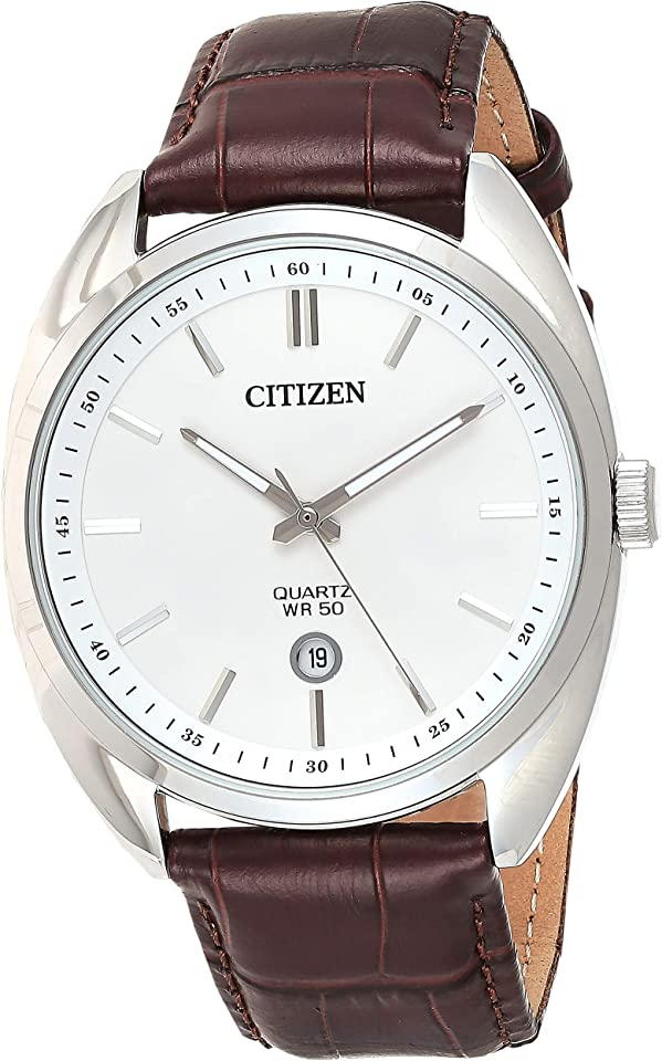 Citizen Quartz White Dial Brown Leathjer Men's Watch BI5090-09A