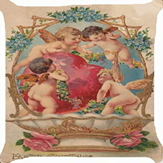 Baby Angels Cupids Cherubs Flower Heart Fountain Garden Cute Cotton Linen Pillow Cover 18 X 18 Inch