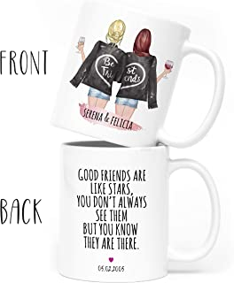 Custom Best Friend Coffee Mug for Women - Long Distance Friendship - Choose Hair - Skin Color Personalized Cup w Names for Besties, Bff, Good Friends Birthday - Moving Away, Christmas Gifts w Quote #1