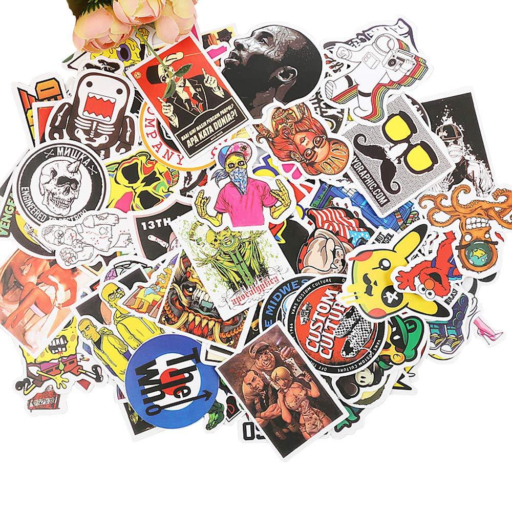 100pcs No Duplicate Vinly Cool Laptop Luggage Waterproof Decal Guitar Skateboard Stickers (100pcs, C)