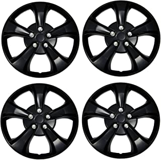 Tuningpros WC3-14-616-B - Pack of 4 Hubcaps - 14-Inches Style 616 Snap-On (Pop-On) Type Matte Black Wheel Covers Hub-caps