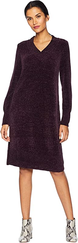 Long Sleeve V-Neck Shift Dress - Chenille