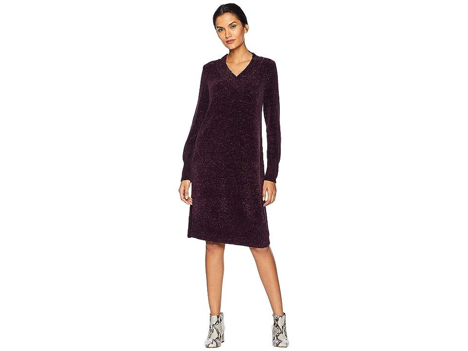 Nine West Long Sleeve V-Neck Shift Dress Chenille (Aubergine) Women