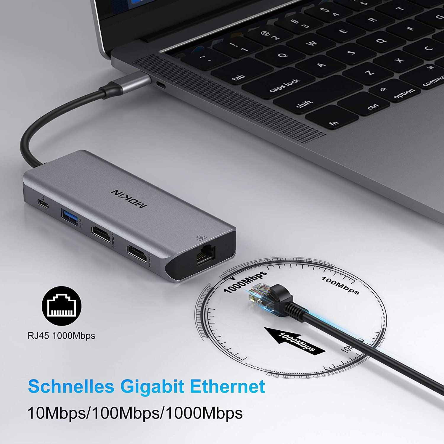 USB C Dual HDMI Adapter, USB C Laptop Docking Station 9 in 1 Triple Display Multiport Dongle, Type C Hub with 2 HDMI, 100W PD, Ethernet, 3 USB and SD/TF Card Reader for MacBook Pro Air and Windows
