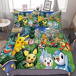RWNFA Bedding Duvet Cover Set, Full/Queen (90x90 inch), Pikachu Pichu Piplup,3 Pieces Bedding Set, with Zipper Closure and...