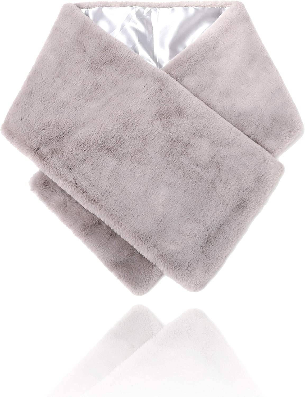 FDesigner Leiothrix Women's Long 1920s Faux Fur Shawl Bridal Wedding Fur Wraps and Shawls Faux Mink Shawl for Women and Girls