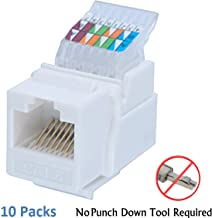 IDC RJ45 CAT6/CAT5e Tool-less No Punch Down Tool Required Gold Plated Keystone Jack, 10 GB Ethernet Cable Patch Panel Wall Plate w Standard Keystone Port, with Color Coded Wiring Schema Snap In Stand