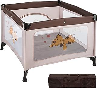 TecTake Kinder Reisebett Laufstall mit Babyeinlage - diverse Farben - Braun Coffee | Nr. 402207