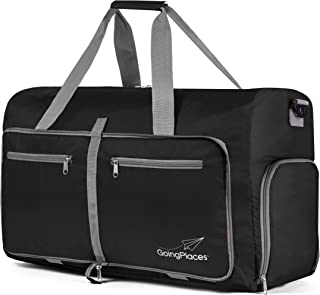 Packable 60L Duffel Bag; Gym & Sports for Women and Men; Weekender, Cruise Bag (Black)
