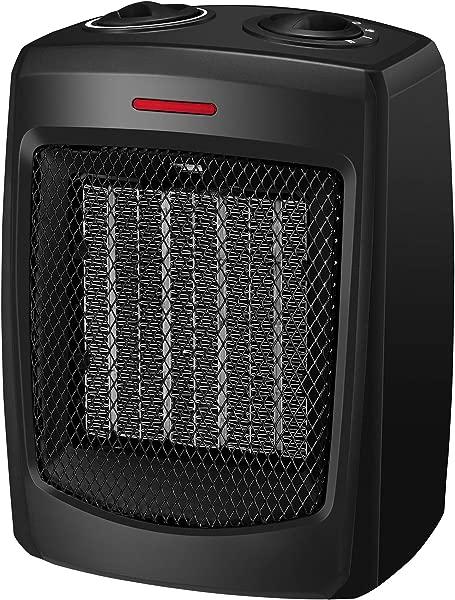 Andily 空间加热器家用和办公室电加热器陶瓷小型加热器带恒温器 750W 1500W
