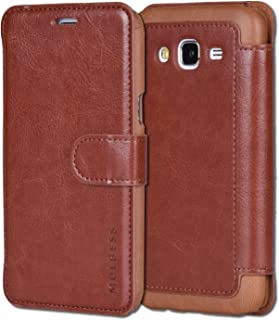 Samsung Galaxy J5 Case,Mulbess [Layered Dandy][Coffee Brown] - [Card Slot][Flip][Slim Fit] - PU Leather Wallet Case For Samsung Galaxy J5 (2015)