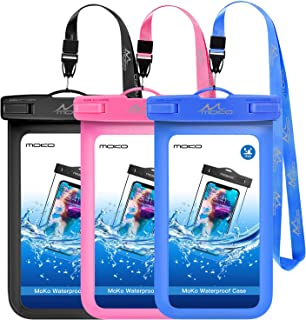 MoKo Waterproof Phone Pouch [3 Pack], Underwater Phone Case Dry Bag with Lanyard Compatible with iPhone 11/11 Pro/11 Pro Max, X/Xs/Xr/Xs Max, 8/7 Plus, Samsung S10/S9/S8 Plus, S10e, S20, Note 10/9/8
