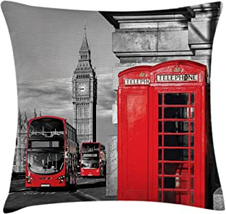 Ambesonne London Throw Pillow Cushion Cover, London Telephone Booth in The Street Traditional Local Cultural England UK Retro, Decorative Square Accent Pillow Case, 26