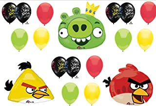 Angry Birds Pig and Red & Yellow Bird Birthday Party Balloons Decorations Supplies