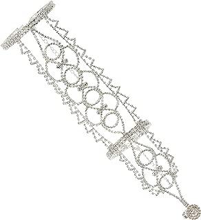 Boho Filigree Wedding Bridal Arm Cuff Armlet Bracelet and Ring Fashion Rhinestone Body Jewelry
