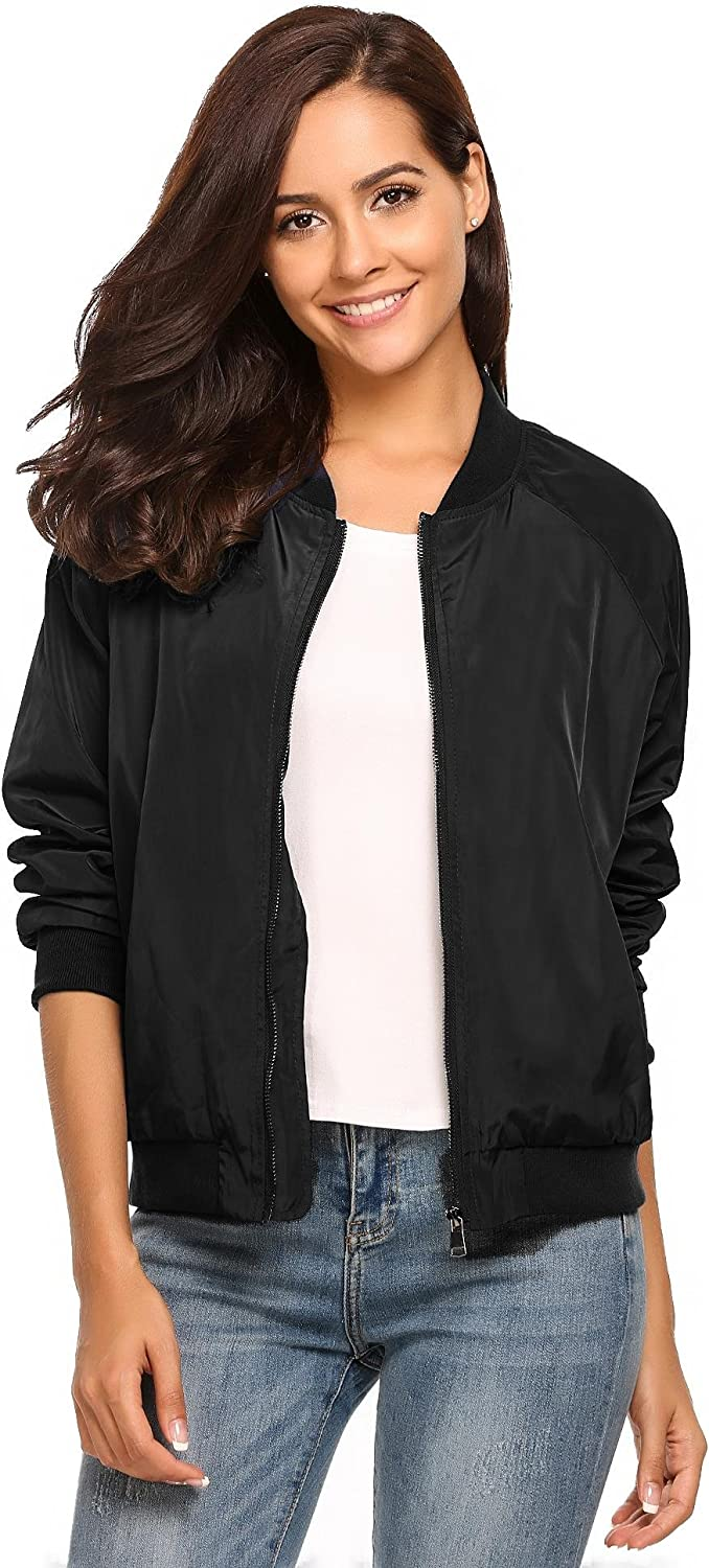 Dickin Women's Classic Quilted Slim Short Bomber Jacket Bike Motorcycle Coat Outwear