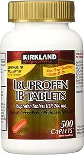 Kirkland Signature Ibuprofen IB tablets USP 200mg NSAID Easy Swallow Caplets, 500 Caplets