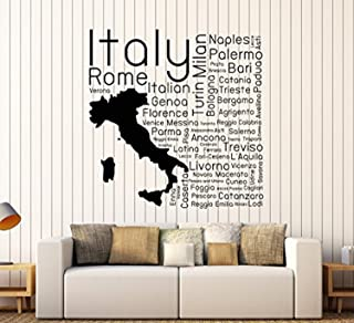 Art of Decals Amazing Home Decor-Large Vinyl Wall Decal Italia Italian Map Cities Room Decor Stickers Large Decor 410 Made in The USA Removable