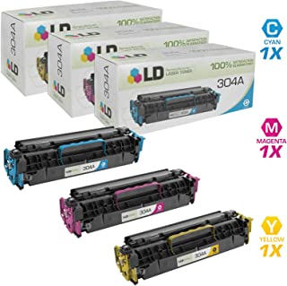 LD Compatible Toner Cartridge Replacement for HP 304A (Cyan, Magenta, Yellow, 3-Pack)