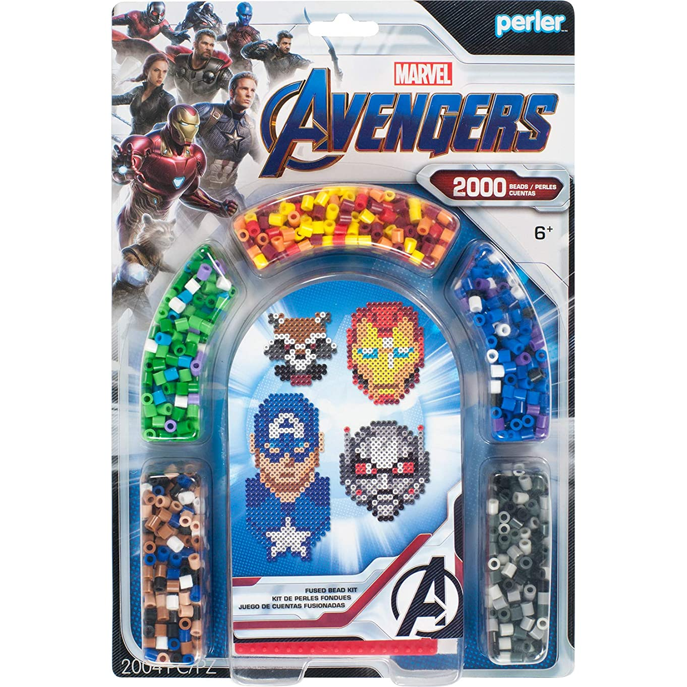 Perler PER8063070 Marvel Avengers Fuse Bead Kit, 2004pc, 4 Patterns, Multicolor