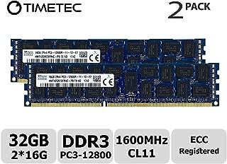 Timetec Hynix Original 32GB Kit (2x16GB) DDR3 1600MHz PC3-12800 Registered ECC 1.5V CL11 2Rx4 Dual Rank 240 Pin RDIMM Server Memory RAM Module Upgrade (32GB Kit (2x16GB))