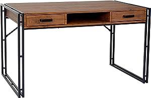 Mendler Schreibtisch HWC-A27, Bürotisch Computertisch, 121x70cm 3D-Struktur ~ Wildeiche-Optik