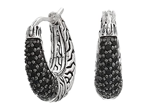 John Hardy Classic Chain Arch Small Hoop Earrings with Black Sapphire and Black Spinel