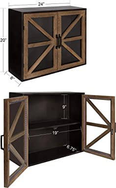 Kate and Laurel Mace Farmhouse Rustic Wood and Metal Wall Mounted Double Door Storage Cabinet