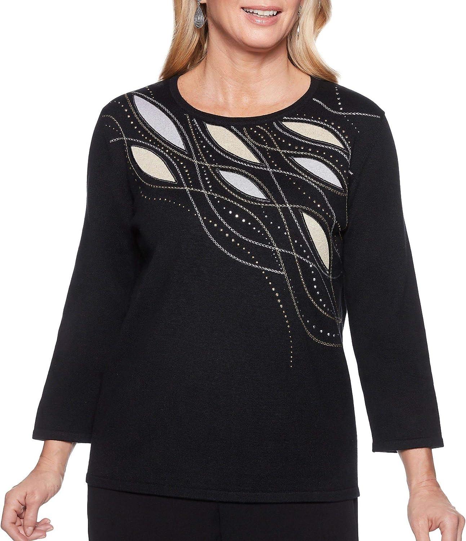 Alfred Dunner Womens Petite Metallic Shimmer Applique Yoke Sweaterside Slits Sweater