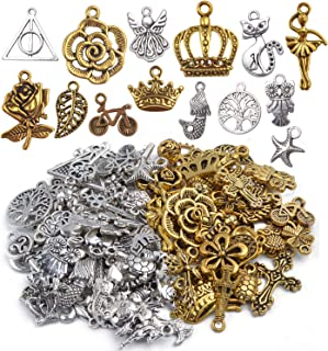 Mixed Craft Charms Pendants, About 100 Pieces Mixed Antique Silver and Gold Small Pendants Charms Jewelry Findings Making Accessory for DIY Necklace Bracelet Earrings
