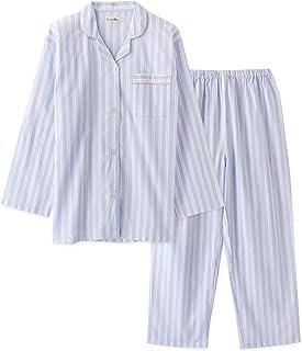 綿100% レディースパジャマ 春秋 長袖 上下セット 肌触りの良い綿100%