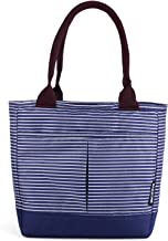 Bagbang Insulated Lunch Bags for Women Girls Cooler Tote Bags Reusable Cute Lunch Box for Adult Waterproof Snack Bags Hand Bag (Blue&White Stripe)