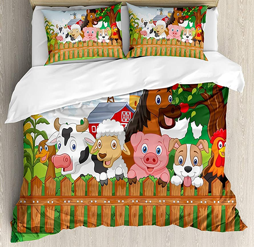 MUSEDAY Cartoon Duvet Cover Set Cute Farm Animals on The Fence Comic Mascots with Dog Cow Horse for Kids Decor Bedding Set with 2 Pillow Shams Comfortable 4 Pieces Sets Zipper Closure, Queen