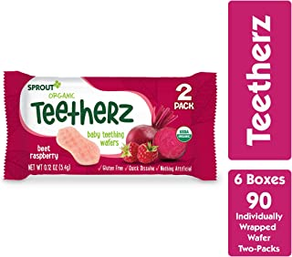 Sprout Organic Teetherz Baby Teething Wafers, Beet Raspberry, Box of 30 (Pack of 6)