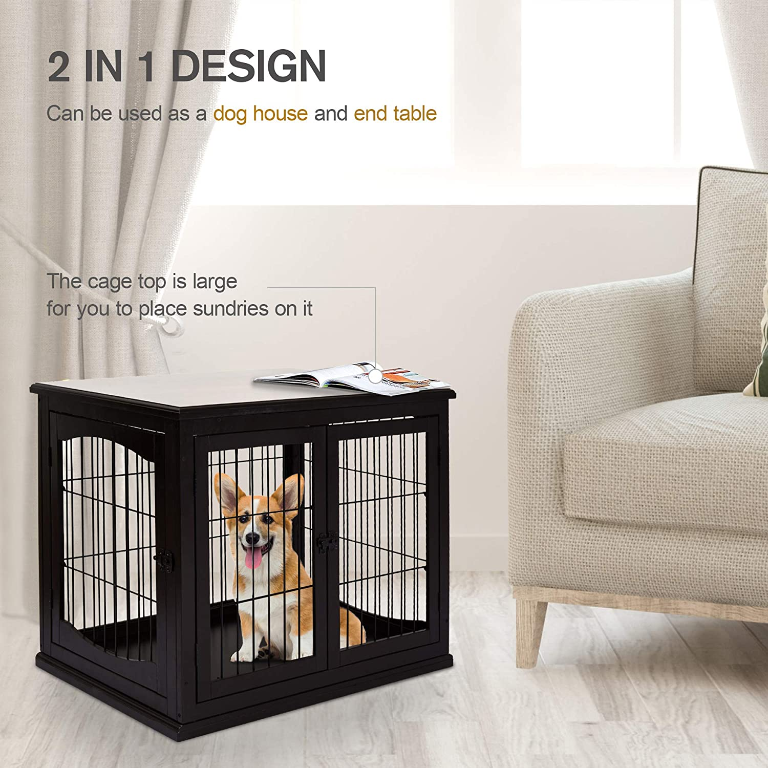 Buy Pawhut 26 Wooden Decorative Dog Cage Pet Crate Kennel With Double Door Entrance A Simple Modern Design Dark Brown Online In Vietnam B089vwvflc
