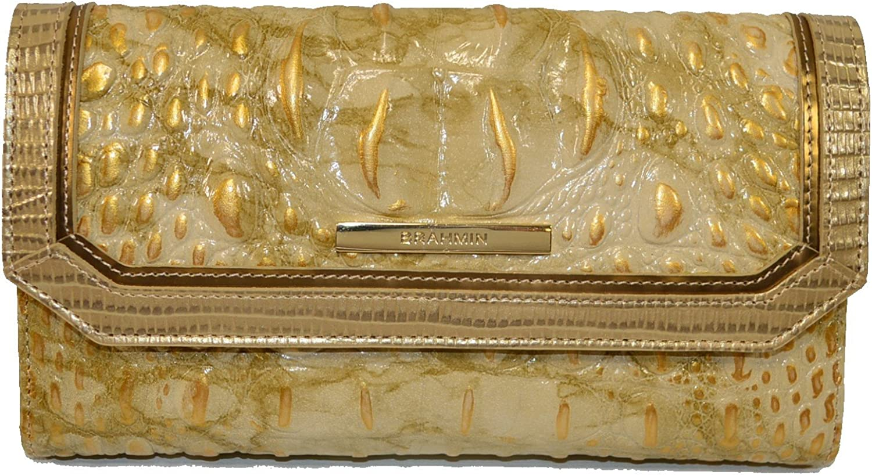 Brahmin Soft Checkbook wallet White Tortoise Cgold