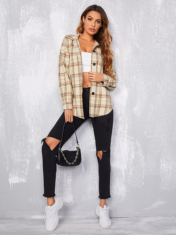 MakeMeChic Women's Long Sleeve Plaid Jacket Button Down Collared Blouse Shirt Top