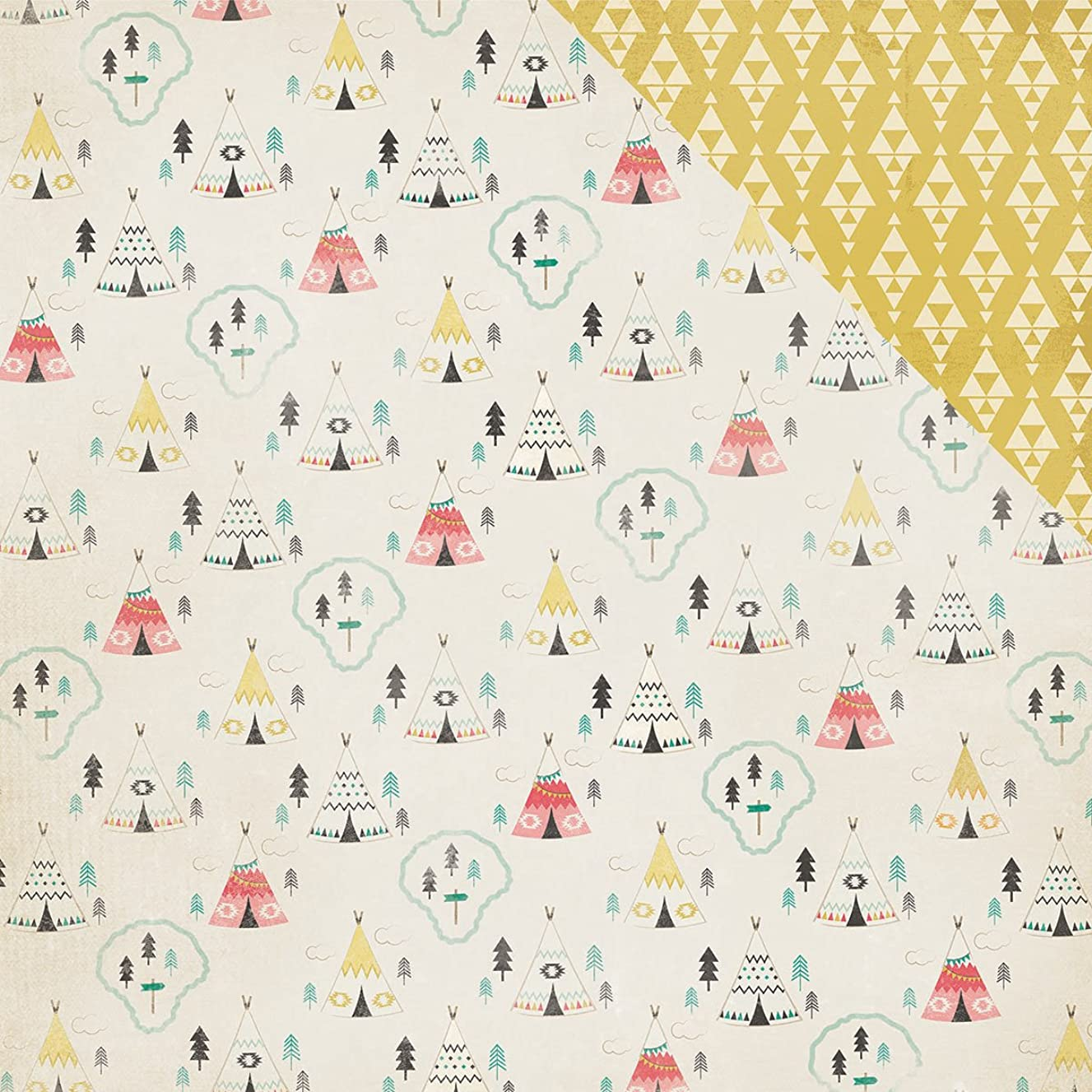 American Crafts 25 Sheets Teepee Journey Double-Sided Cardstock, 12 x 12