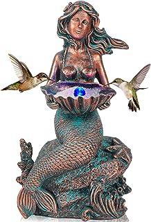 Mermaid Sitting on Rock Statue Decorations Animals Bird Bath Feeder Garden Statue Light Up Figurines Princess Ornament Ind...