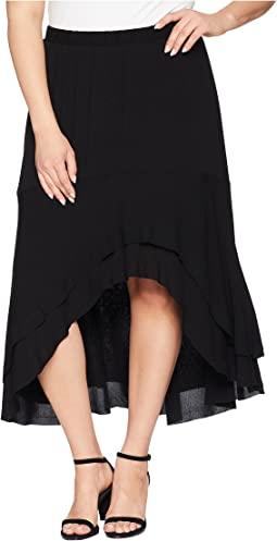 Plus Size Asymmetric Raw Hem Skirt