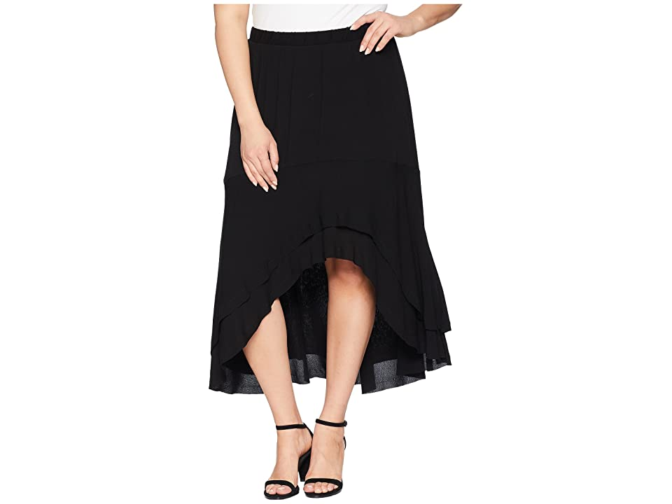 Karen Kane Plus Plus Size Asymmetric Raw Hem Skirt (Black) Women's Skirt