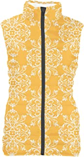 Rainbow Rules Yellow Retro Damask Womens Puffer Vest Bodywarmer Gilet