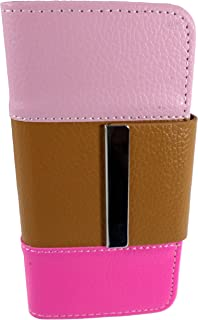 TCD for Apple iPhone 5 5S Three Color Case [Pink Brown] Color Block Styish PU Leather Wallet Case with Credit Card Slots [Includes Free Screen Protector and Stylus Pen]