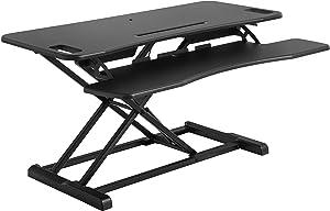 SONGMICS Höhenverstellbarer Sitz-Steh-Schreibtisch, Ergonomischer Schreibtisch Konverter Für Computer, Laptop, Mit Abnehmbarer Tastaturablage, Großer Schreibtischaufsatz 95 x 40 cm , Schwarz LSD06BK