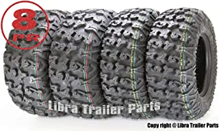 Set of 4 Premium FREE COUNTRY ATV/UTV Tires 25x8-12 Front & 25x10-12 Rear / 8PR w/Side Scuff Guard