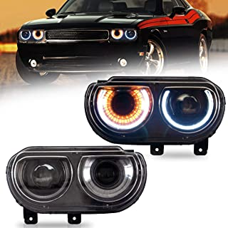 VLAND Headlight Assembly Fit for 2008-2014 Dodge Challenger, Plug-and-play,D2H/HID Bulb Conversion Kit( Not Included) for HI/ LO Beam